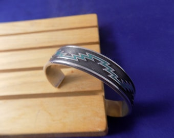 STERLING SILVER CUFF Bracelet With Indian Design on Front Side Expandable