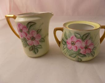 CREAMER And SUGAR BOWL With Pink Roses Vintage Weimar Germany