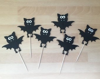 12 X Bat Cupcake Toppers / Halloween Cupcake Toppers