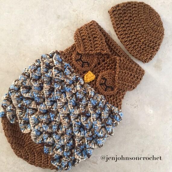 Crochet saco de dormir de buho de recién nacido / capullo / | Etsy