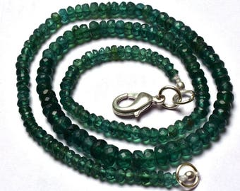 -AAA-Green  Color  Apatite Rondelle Faceted  Beads  Necklace  3 TO 4.5 MM 1 Stand Natural Gem Natural Gem 16 Inches Super Finest Quality