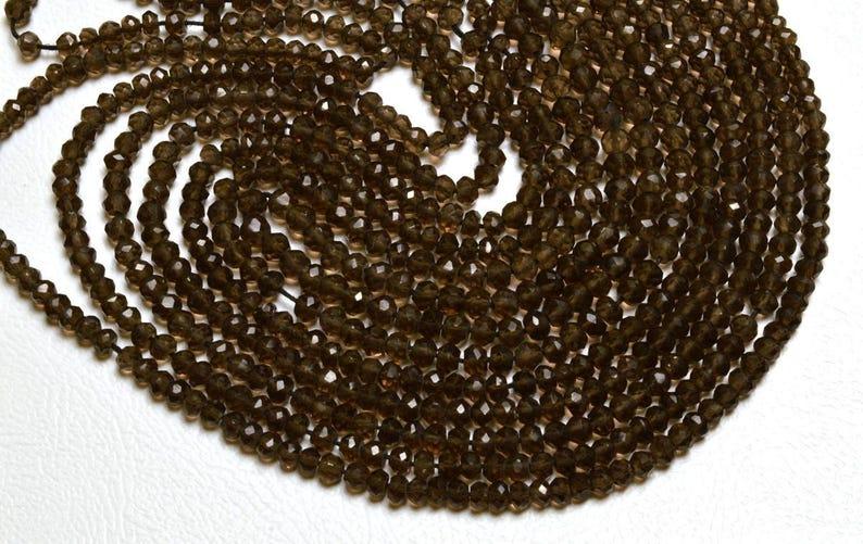 Natural Gem 13.5 INCH Super Gems Quality  Natural Super Smoky Quartz Faceted Rondelle  Beads 3 MM