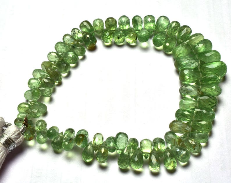 Full Stand Natural Gem 8 inch Natural Gemstone Super  Green  Kyanite Faceted Tear Drop Shape Briolettes Beads 6 TO 12 MM