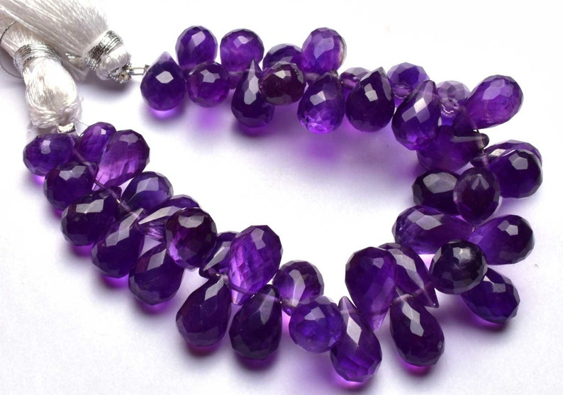 Natural 5 Inch  Beautiful,Superb,Finest Quality TearDrop Dark Purple Amethyst Micro Faceted Drops Shape Briolettes 9  To 12 mm size