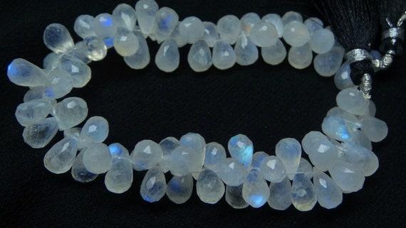 3x7 Inch Strand,Super Finest,Super Rare,BLUE Flashy RAINBOW Moonstone Smooth Pear Shape Briolettes,8-9mm Size