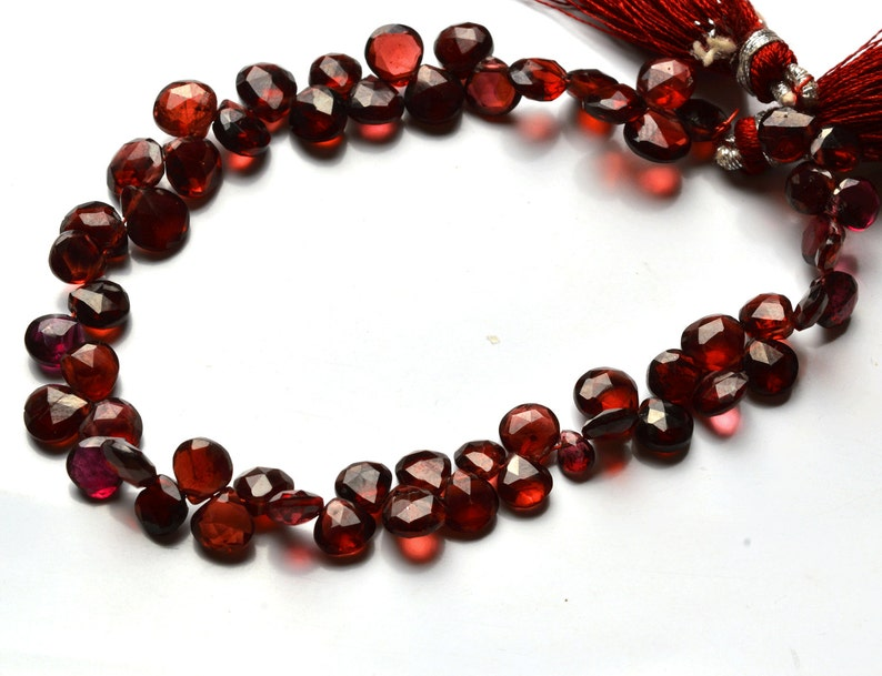 58 carets 7 inch Natural Gemstone Faceted Beads  Heart Shape Briolettes Very Rare Red Garnet 4 To 7 MM