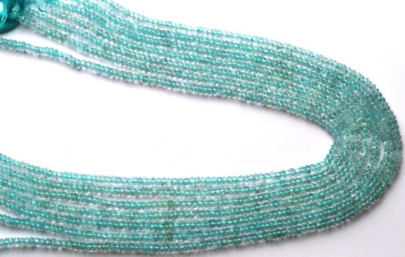 """1 Stand Natural Moss Aquamarine Rondelle Faceted 3-4mm 13/""""Inch Gemstone Beads"""