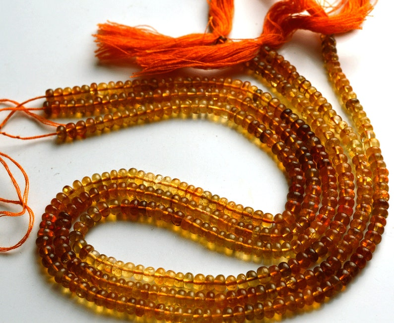 Natural Gem 1 Stand 14 inch  Super Rare AAA Golden Citrin Smooth Rondelle   Shape Beads  Size 3.5 TO  4 MM