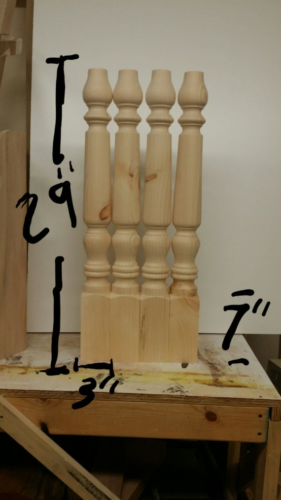 Knotty Pine Wood Table Island Farm Dining Legs Unfinished 29 X 3 Inch Set Of 4