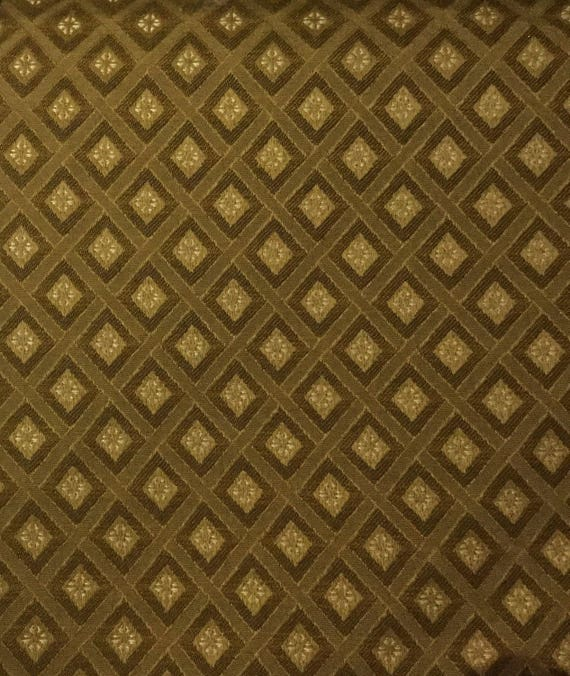 Gold Tone On Tone Diamond Upholstery Fabric By The Yard Etsy