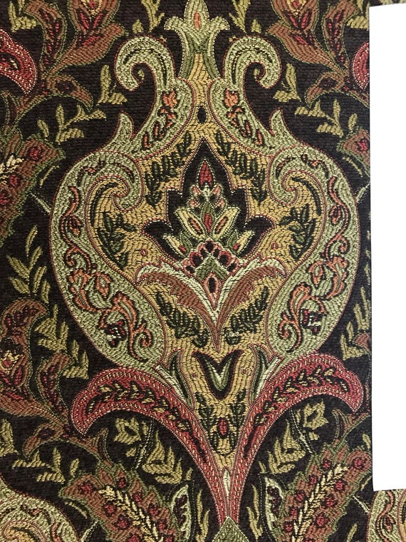 Brown Red Gold Green Woven Damask Upholstery Fabric By Etsy