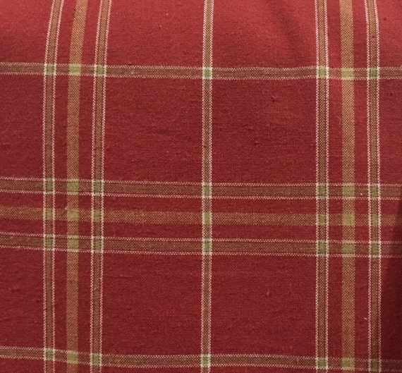 Dark Blush Plaid Upholstery Fabric By The Yard Etsy
