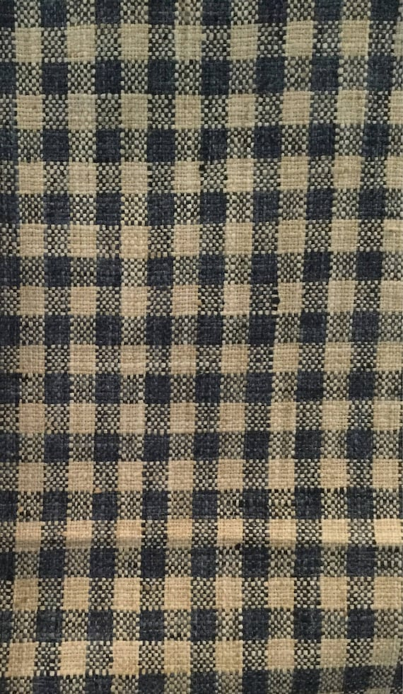 Navy Blue Woven Check Upholstery Fabric By The Yard Etsy
