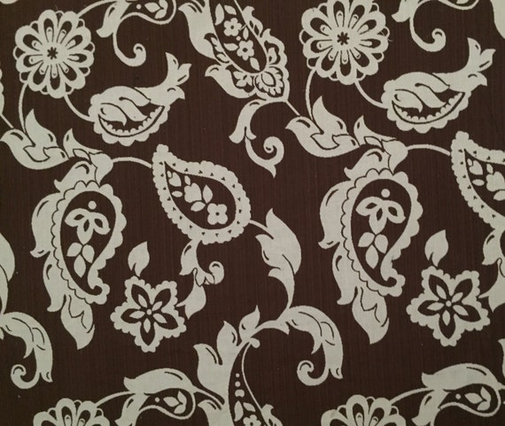 Chocolate Brown Paisley Upholstery Fabric By The Yard Etsy