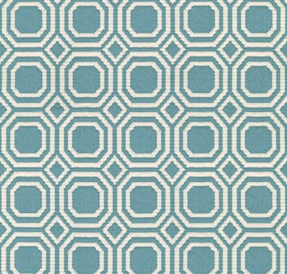 Teal Modern Geometric Upholstery Fabric By The Yard Blair Etsy