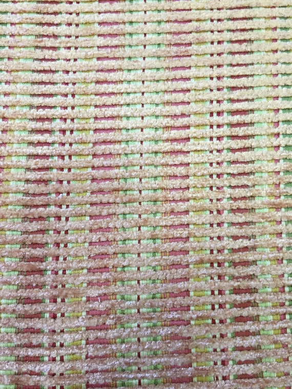 Coral Green Gold And Pink Raised Textured 3d Stripe Chenille Upholstery Fabric By The Yard Soft Upholstery Fabric