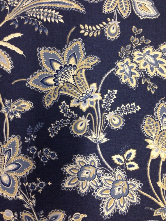 Beautiful navy blue white and wheat floral fabric Navy