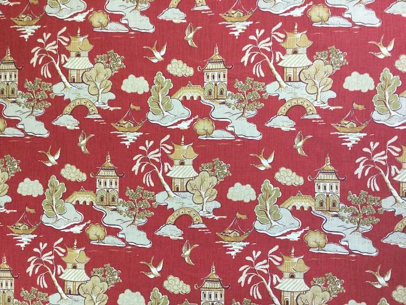 Asian Ronnie Gold Upholstery Fabric By The Yard Xanadu Modern Toile Chinoiserie