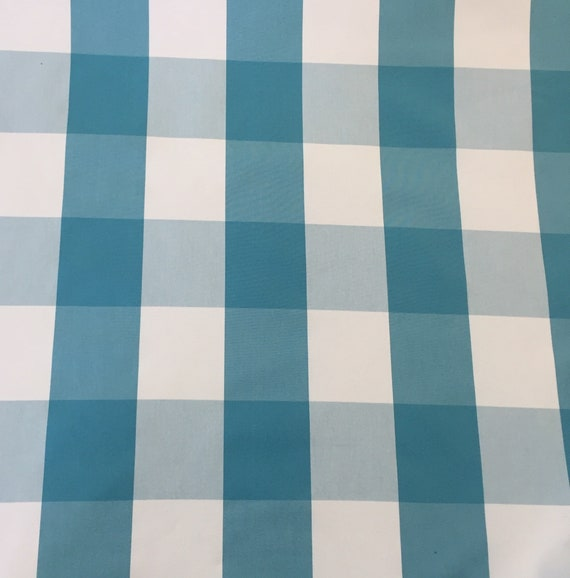 Blue Buffalo Check Upholstery Fabric By The Yard Etsy