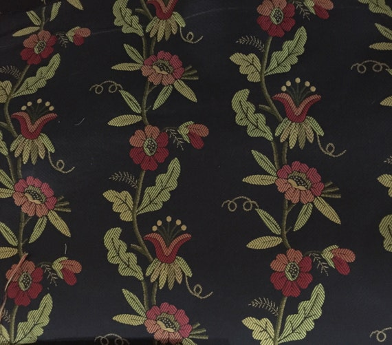 Vining Red Gold And Green Floral Upholstery Fabric By The Etsy