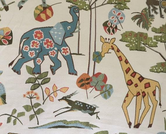 Whimsical Safari Multicolored Elephant Giraffe Etsy