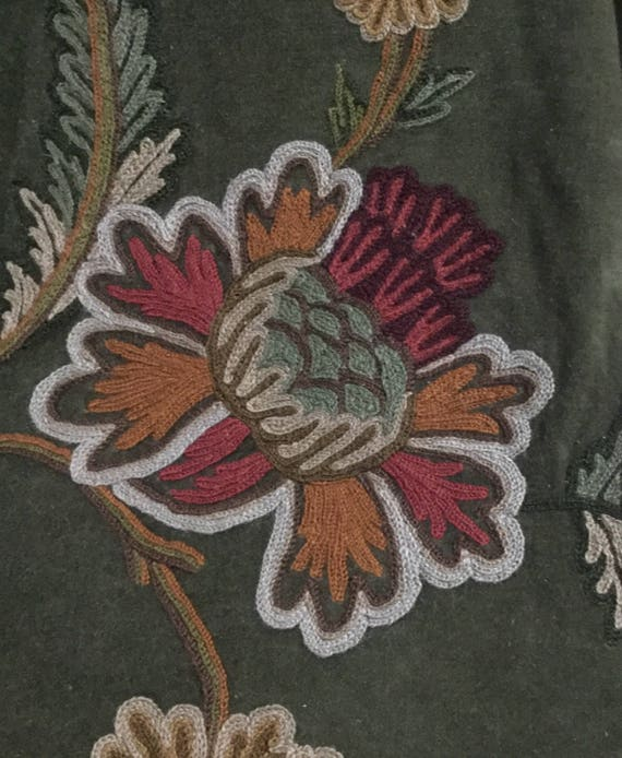 Forest Green Floral Crewel Embroidered Upholstery Fabric By Etsy