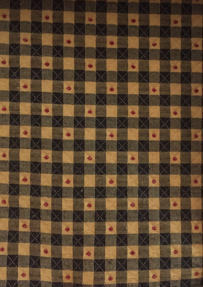 Small Check  Black Gold and Red  Upholstery Fabric By The image 1