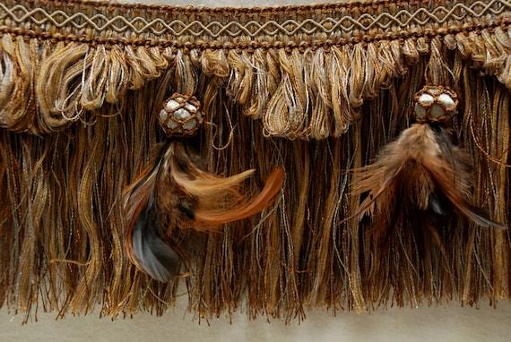 Feather Tassel Fringe Brown Unique Trim Home Decor Trim