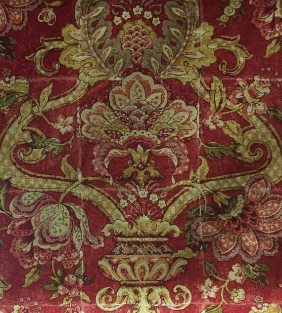 Red French Country Floral Country Chic Fabric Upholstery Etsy