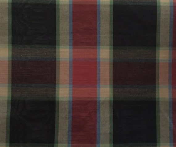 Plaid Red Black Blue And Green Upholstery Fabric By The Etsy