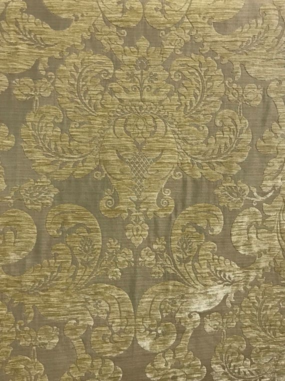 Chenille Gold Damask Upholstery Fabric By The Yard Etsy