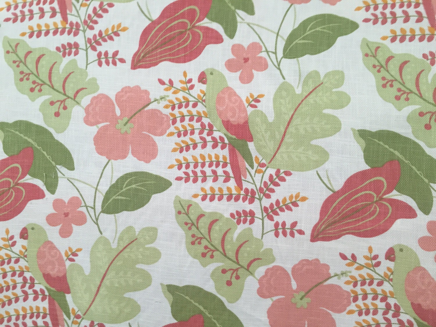 Hibiscus Parrot Tropical Floral Upholstery Fabric By The Etsy