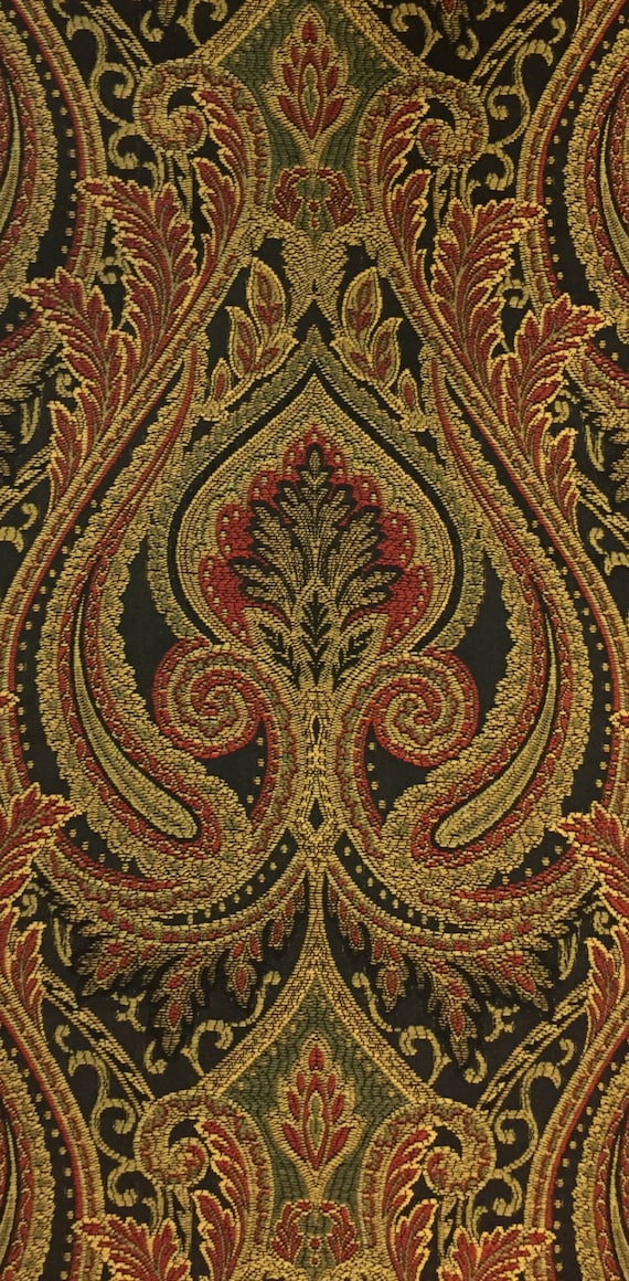 Black Red Gold And Green Damask Fabric Upholstery Fabric Etsy