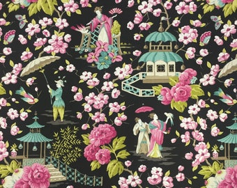 Pink and Aqua - Asian Fabric - Summer Palace - Chinoiserie - Upholstery Fabric by The Yard