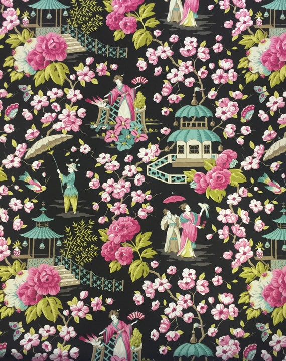 Pink And Aqua Asian Fabric Summer Palace Chinoiserie Etsy