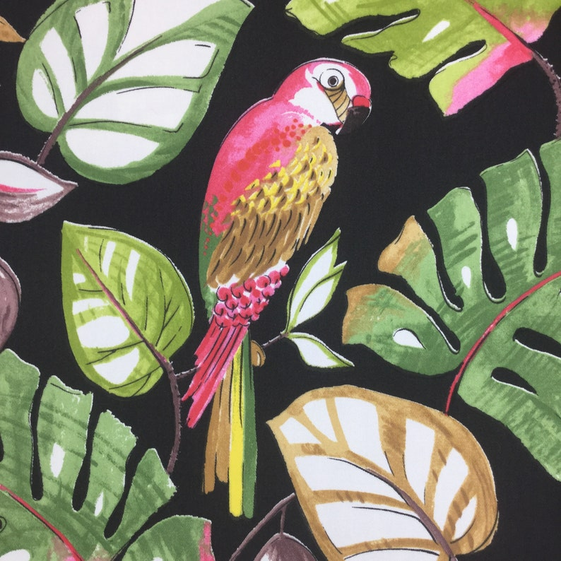 Fabric by the Yard Palm Tropical Pink Parrot Upholstery