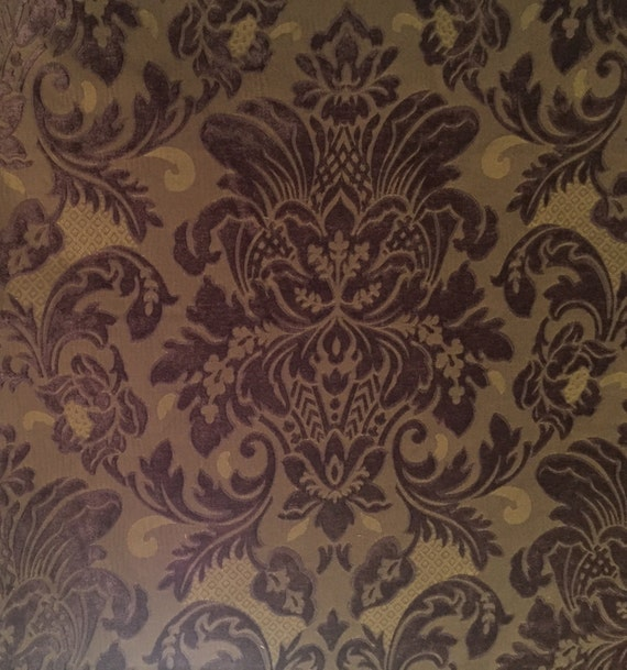 Plum Chenille Damask Drapery Fabric Upholstery Fabric By Etsy