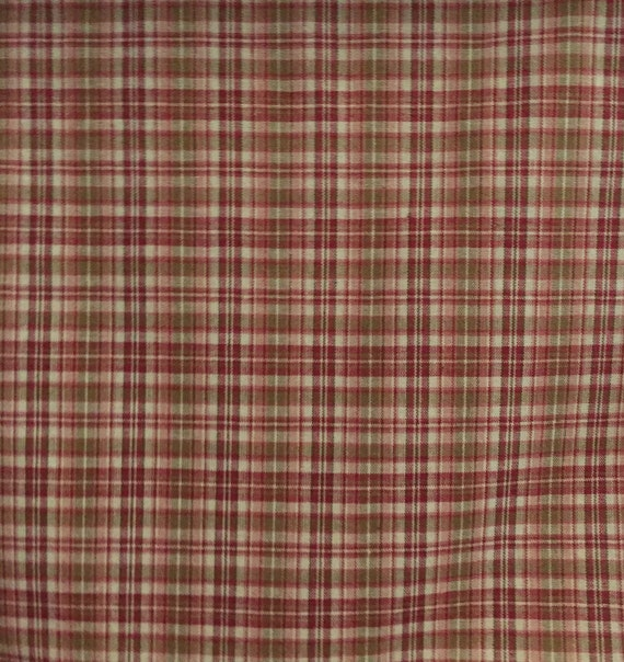 Red And Green Small Plaid Upholstery Fabric By The Yard Etsy