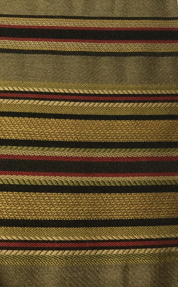 Red Gold Black Green Stripe Upholstery Fabric By The Yard