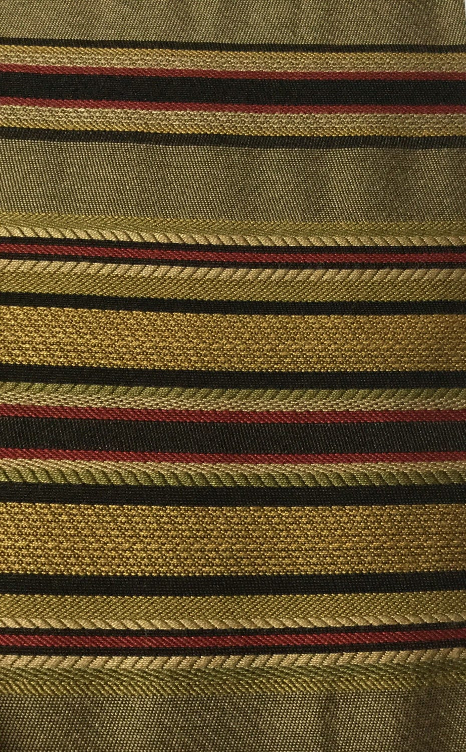 Red Gold Black Green Stripe Upholstery Fabric By The Yard Etsy