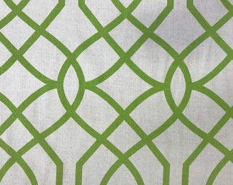 Grass Green - Oatmeal background - Geometric - Upholstery Fabric By The Yard