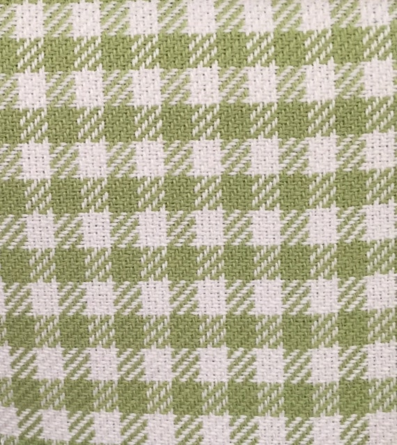 Green White Check Upholstery Fabric By The Yard Fast Etsy
