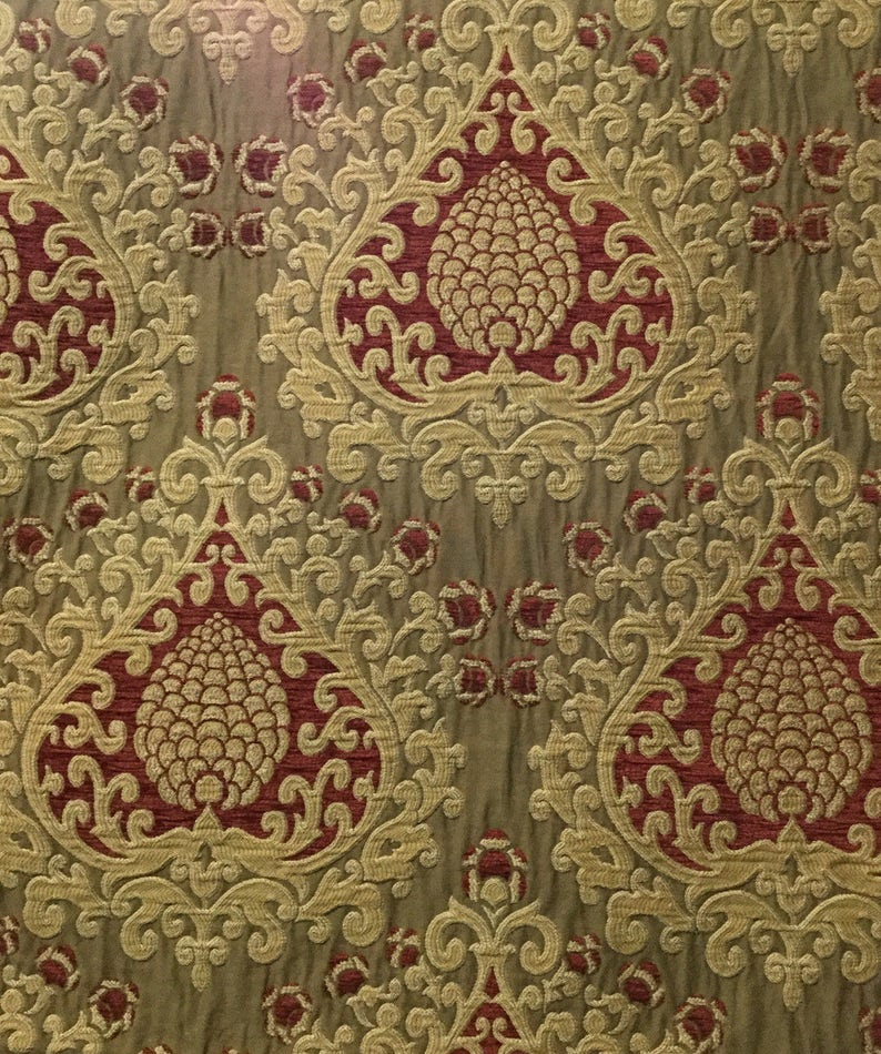 Upholstery Fabric by the Yard Red Gold Damask Woven