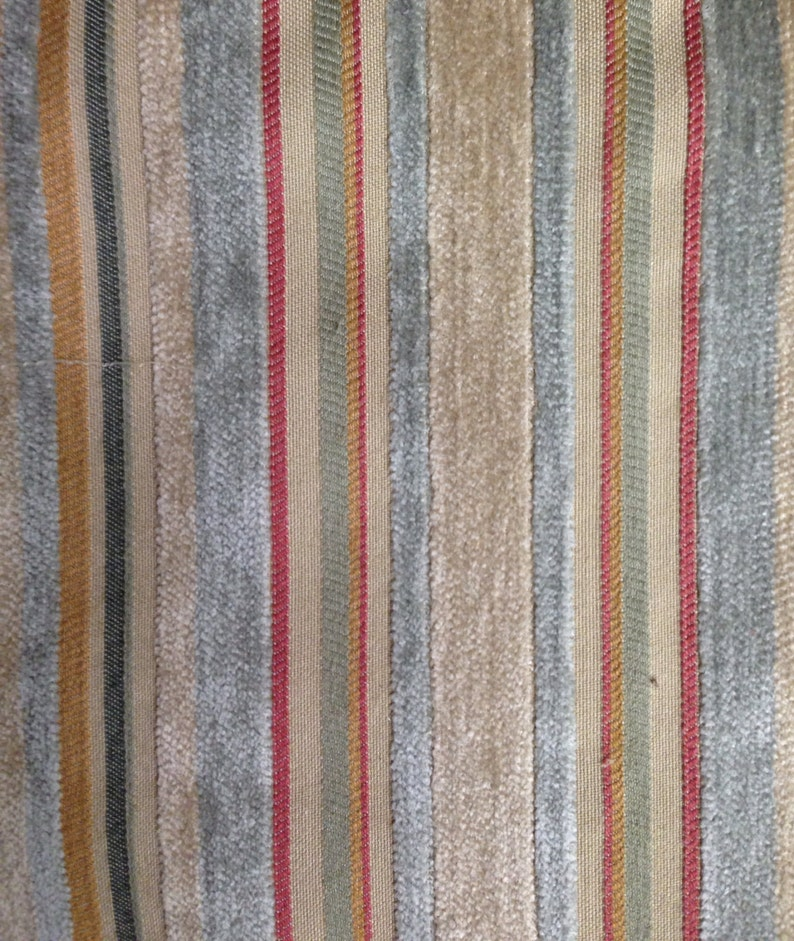 Upholstery Fabric By The Yard Multicolored Velvet Stripe Fabric