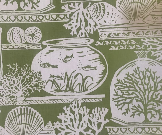 Lime Green Beach House Upholstery Fabric By The Yard Etsy