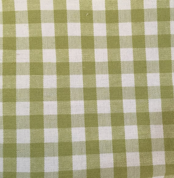 Green White Small Check Upholstery Fabric By The Yard Etsy