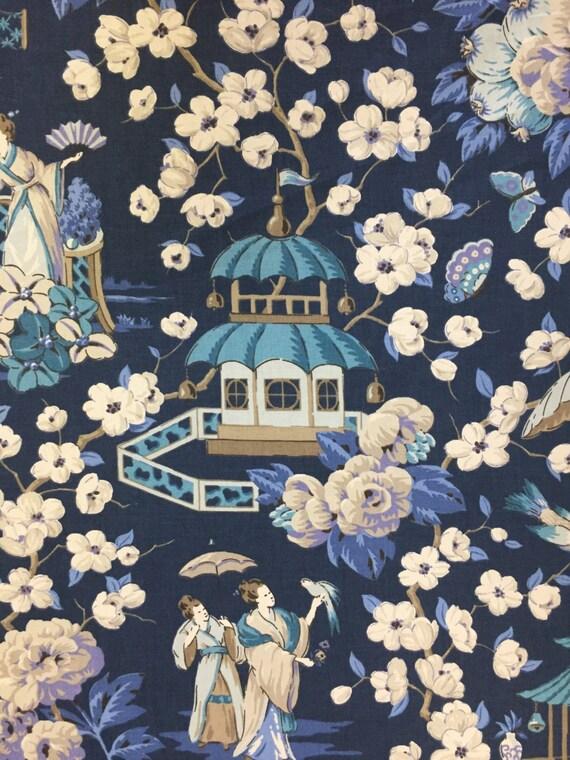 Navy Blue Chinoiserie Pagoda Peach Blossom Asian Garden Etsy