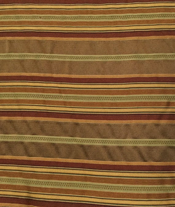 Upholstery Fabric by the Yard Stripe Red Brown Woven yellow Gold