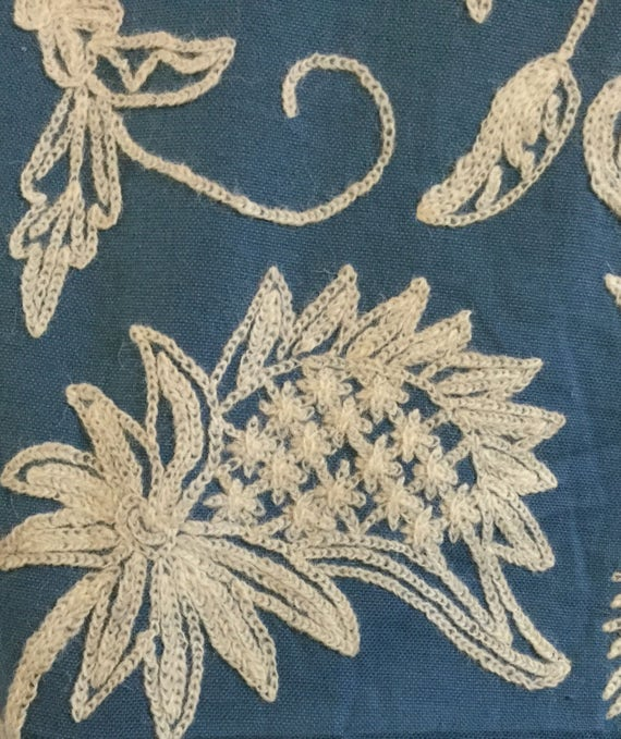 Blue Off White Crewel Embroidered Upholstery Fabric By Etsy