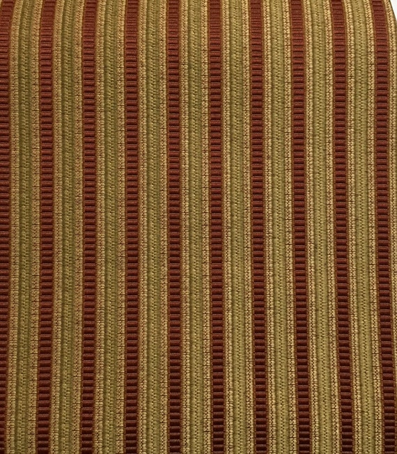 Rust Green Gold Stripe Upholstery Fabric By The Yard Etsy